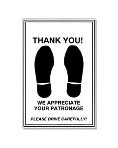 Thank You Footprint Floor Mat