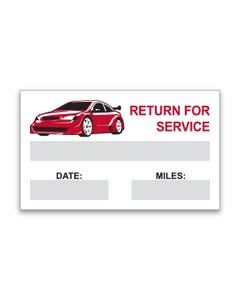 Return for Service Reminders Stickers - Red
