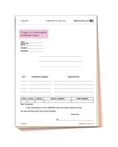 Custom Imprinted Special Parts Order Form SPO-4