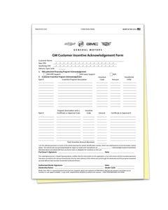 GM Incentive Acknowledgement Form