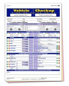 Custom Imprinted Vehicle Checkup Report