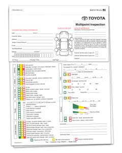 Toyota Multi-Point Inspection Forms