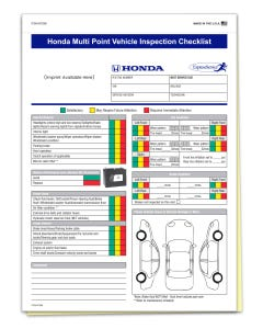 Custom Imprinted Honda Multi-Point Inspection Form