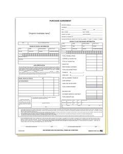 Custom Imprinted Car Dealer Purchase Agreement Form