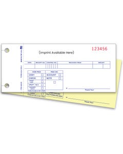 Custom Imprinted 2-Part Cash Receipts