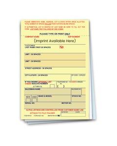 Custom Imprinted 3-Part Vehicle Deal Label AA-168