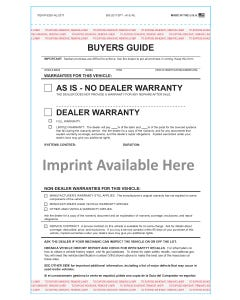 Custom Imprinted 2-Part AS-IS No Lines Buyers Guide