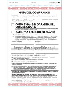 Custom Imprinted Spanish 2-Part Buyers Guide AS-IS