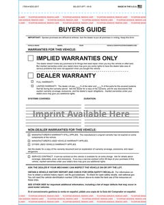 Custom Imprinted 2-Part Buyers Guide - Implied Warranty