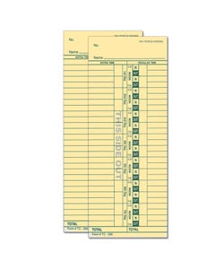Time Clock Card TC-292-2 (2 sided)