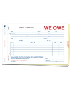 Custom Imprinted We Owe 3-Part Form