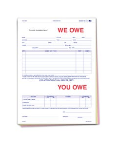 Custom Imprinted We Owe/You Owe Form
