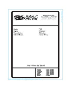 Autosoft Window Sticker - One Color