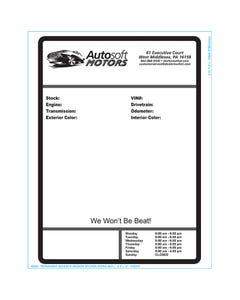 Autosoft Window Sticker - One Color
