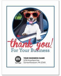 Custom Poly-Back Paper Floor Mats - Thank You Stay Cool Dog