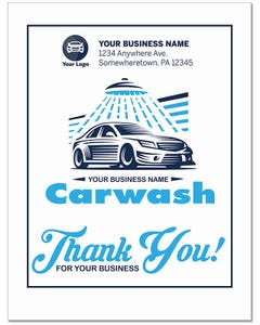 Custom Poly-Back Paper Floor Mats - Thank You Carwash Exotic
