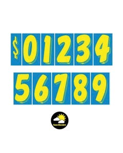 "11 1/2""  Yellow & Blue Windshield Numbers Kit"