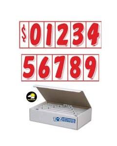 "7 1/2""  Red & White Windshield Numbers Kit"