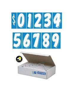 "7 1/2""  White & Blue Windshield Numbers Kit"