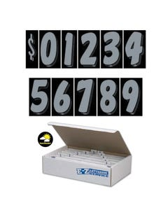 "7 1/2""  Silver & Black Windshield Numbers Kit"