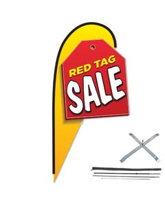 12ft Message 3D Teardrop Flag Kit w/Cross Base
