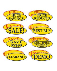 Oval Slogan Window Stickers - 12 Pack