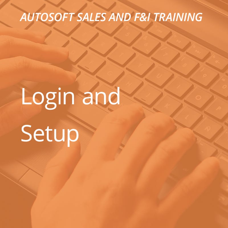 Autosoft Training: Finance Login & Setup