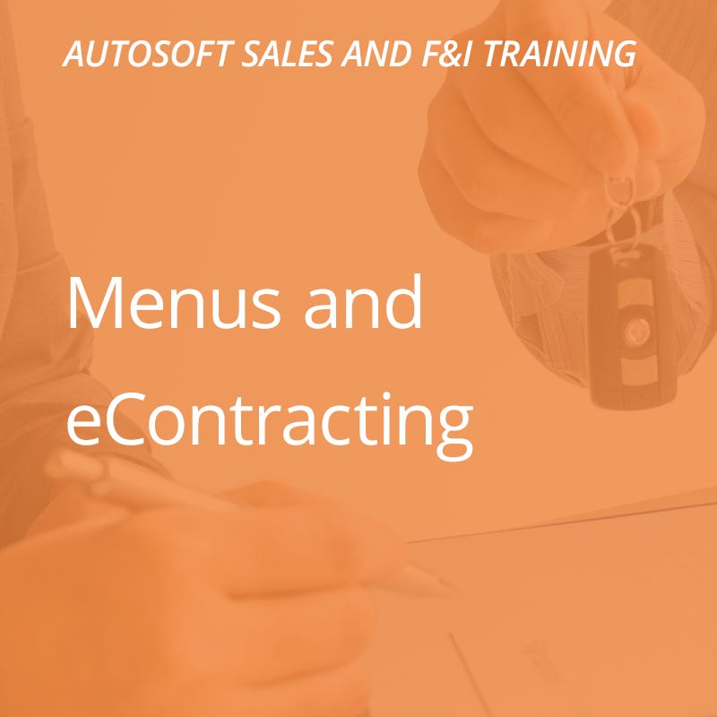 Autosoft Training: Menus & Econtracting