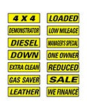 Slogan Window Stickers - Black & Yellow - 12 Pack