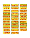 Slogan Window Stickers - Yellow & Red - 12 Pack