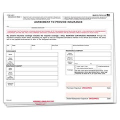 Agreement To Provide Auto Insurance Form