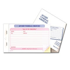 Avoid Verbal Orders Forms